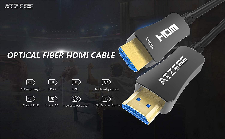 High Speed 4K HDMI Kabel unterstützt UHD  HDR 5M ATZEBE HDMI Glasfaser Kabel